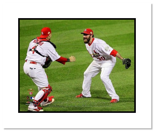 Jason Motte and Yadier Molina St Louis Cardinals MLB Double Matted 8x10 Photograph 2011 World Series Last Out