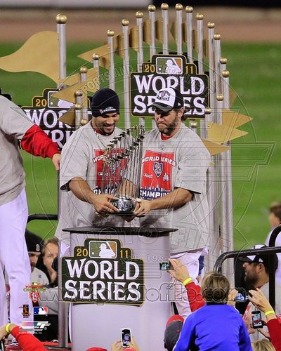 Albert Pujols and Lance Berkman St Louis Cardinals MLB 8x10 Photograph 2011 World Series Trophy