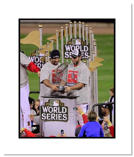 Albert Pujols and Lance Berkman St Louis Cardinals MLB Double Matted 8x10 Photograph 2011 World Series Trophy
