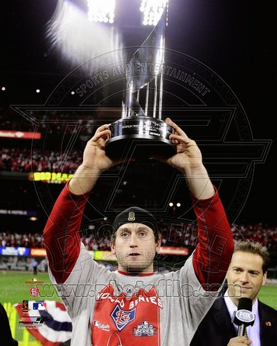David Freese St Louis Cardinals MLB 8x10 Photograph 2011 World Series MVP Trophy