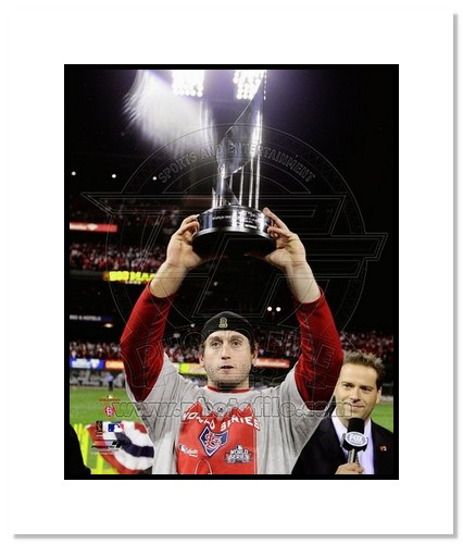 David Freese St Louis Cardinals MLB Double Matted 8x10 Photograph 2011 World Series MVP Trophy