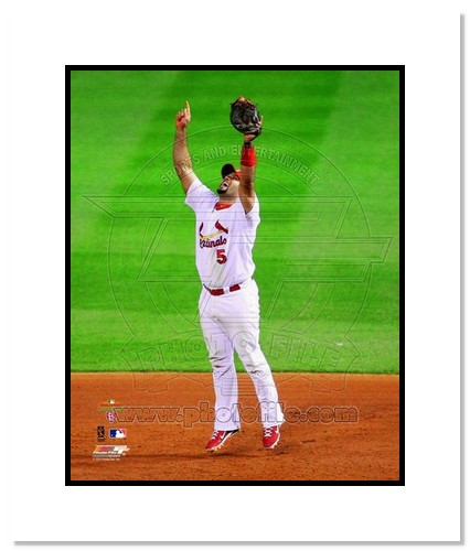 Albert Pujols St Louis Cardinals MLB Double Matted 8x10 Photograph 2011 World Series Last Out