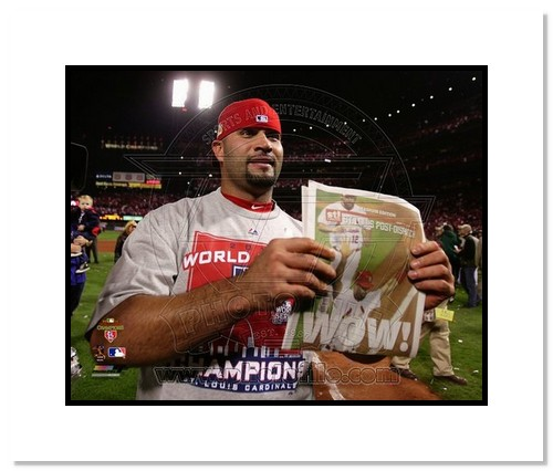 Albert Pujols St Louis Cardinals MLB Double Matted 8x10 Photograph 2011 World Series Newspaper Headline