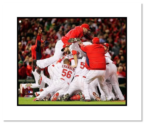 2011 St Louis Cardinals MLB Double Matted 8x10 Photograph World Series Busch Stadium Celebration #2