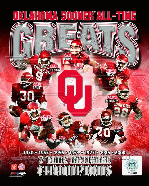 Oklahoma Sooners All Time Greats NCAA 8x10 Photograph National Champs Collage