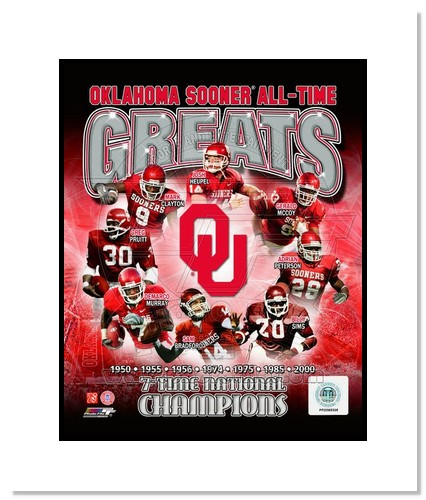 Oklahoma Sooners All Time Greats NCAA Double Matted 8x10 Photograph National Champs Collage