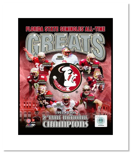 Florida State Seminoles All Time Greats NCAA Double Matted 8x10 Photograph National Champs Collage