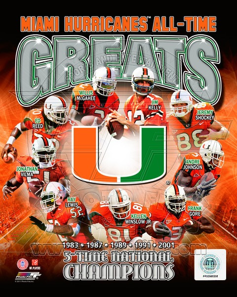 Miami Hurricanes All Time Greats NCAA 8x10 Photograph National Champs Collage