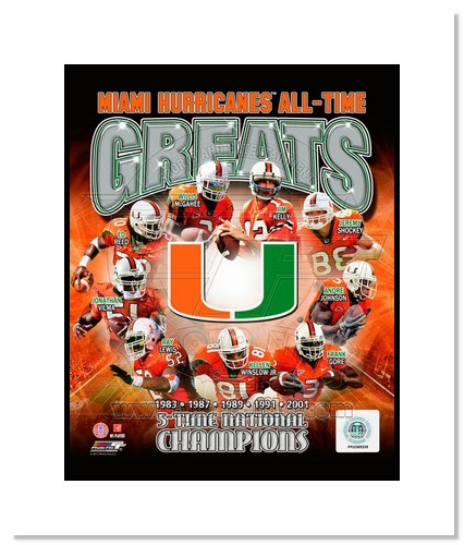 Miami Hurricanes All Time Greats NCAA Double Matted 8x10 Photograph National Champs Collage