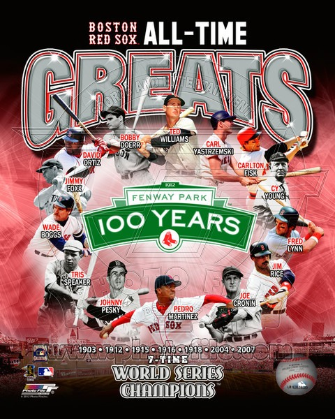 Boston Red Sox All Time Greats MLB 8x10 Photograph World Champs Collage