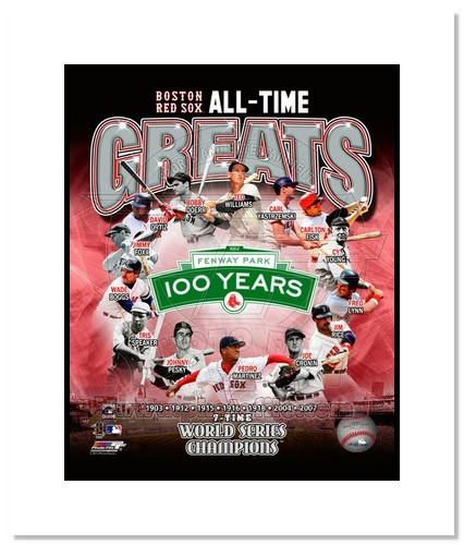 Boston Red Sox All Time Greats MLB Double Matted 8x10 Photograph World Champs Collage
