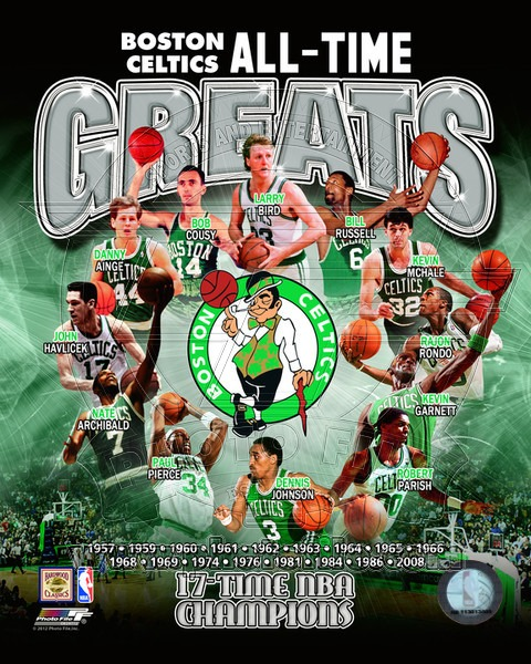 Boston Celtics All Time Greats NBA 8x10 Photograph NBA Champions Collage