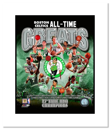 Boston Celtics All Time Greats NBA Double Matted 8x10 Photograph NBA Champions Collage