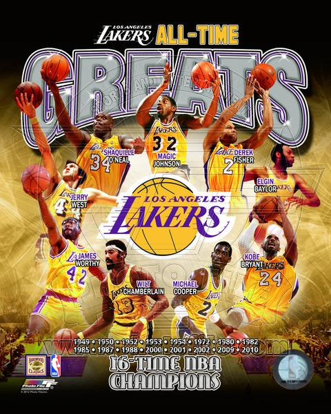 Los Angeles Lakers All Time Greats NBA 8x10 Photograph NBA Champions Collage