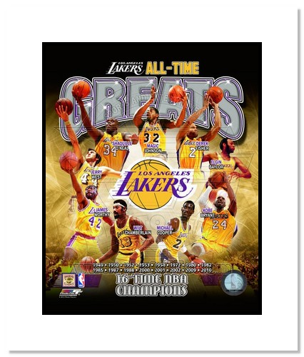 Los Angeles Lakers All Time Greats NBA Double Matted 8x10 Photograph NBA Champions Collage