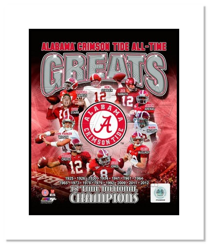 Alabama Crimson Tide All Time Greats NCAA Double Matted 8x10 Photograph National Champs Collage