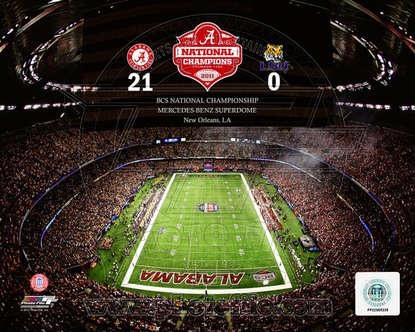 Alabama Crimson Tide NCAA 8x10 Photograph 2011 National Champs Stadium Shot