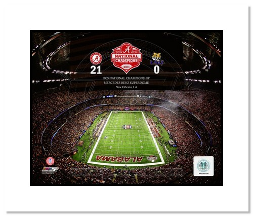 Alabama Crimson Tide NCAA Double Matted 8x10 Photograph 2011 National Champs Stadium Shot