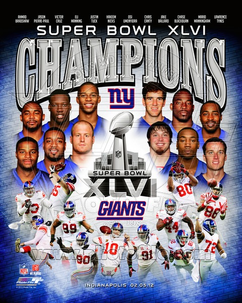 2012 New York Giants NFL 8x10 Photograph Super Bowl XLVI Champions Collage