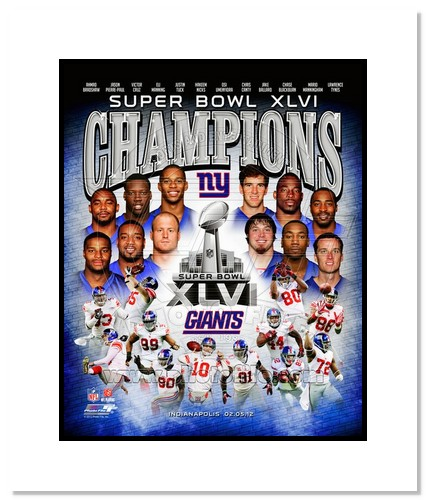 2012 New York Giants NFL Double Matted 8x10 Photograph Super Bowl XLVI Champions Collage