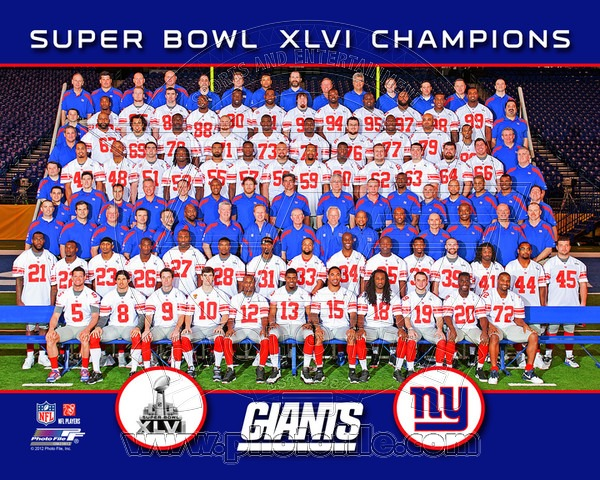 2012 New York Giants NFL 8x10 Photograph Super Bowl XLVI Champions Team Photo