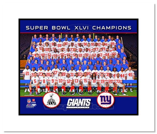 2012 New York Giants NFL Double Matted 8x10 Photograph Super Bowl XLVI Champions Team Photo