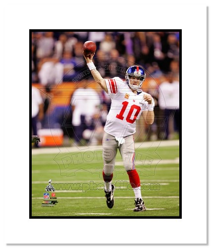 Eli Manning 2012 New York Giants NFL Double Matted 8x10 Photograph Super Bowl XLVI Champions Passing