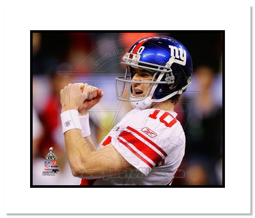 Eli Manning 2012 New York Giants NFL Double Matted 8x10 Photograph Super Bowl XLVI Champions Celebration