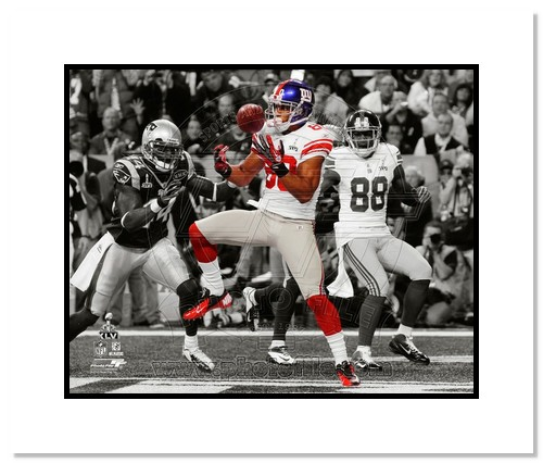 Victor Cruz 2012 New York Giants NFL Double Matted 8x10 Photograph Super Bowl XLVI Champions Touchdown Catch Spotlight