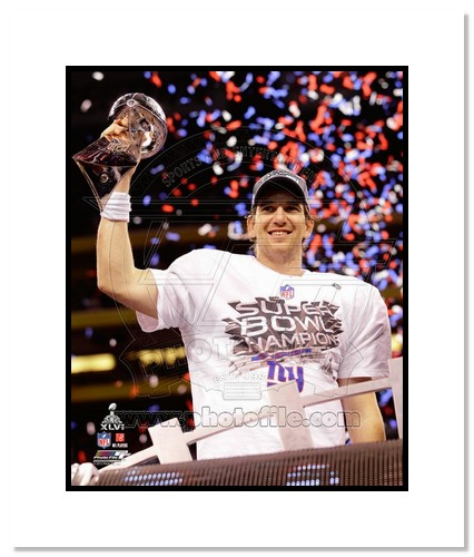 Eli Manning 2012 New York Giants NFL Double Matted 8x10 Photograph Super Bowl XLVI Champions with Trophy