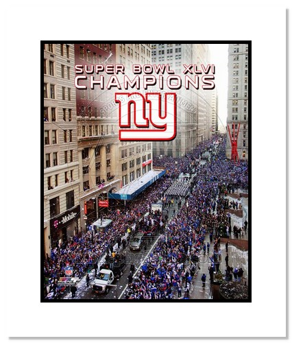 2012 New York Giants NFL Double Matted 8x10 Photograph Super Bowl XLVI Champions NYC Parade