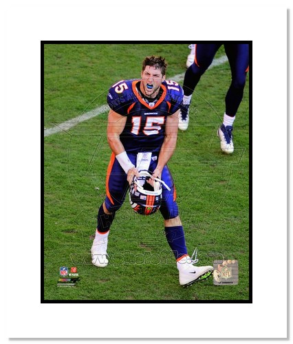 Tim Tebow Denver Broncos NFL Double Matted 8x10 Photograph Celebration