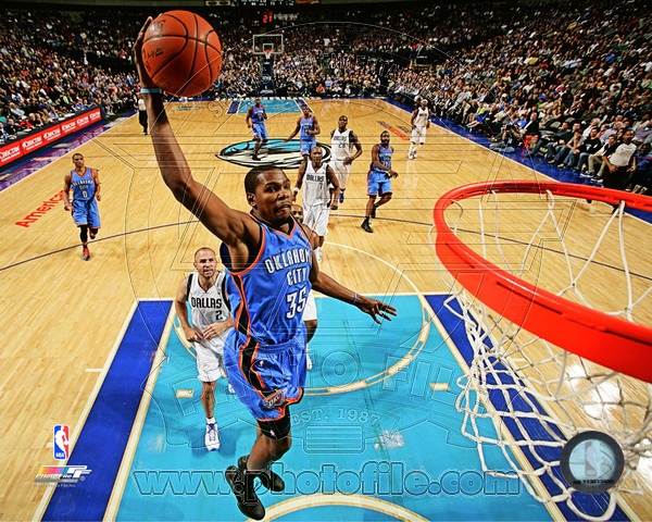 Kevin Durant Oklahoma City Thunder NBA 8x10 Photograph Dunking vs Dallas