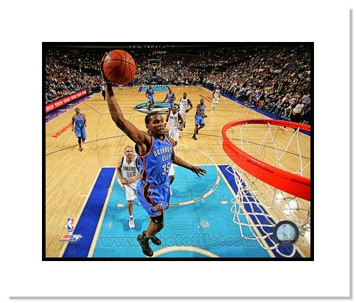 Kevin Durant Oklahoma City Thunder NBA Double Matted 8x10 Photograph Dunking vs Dallas