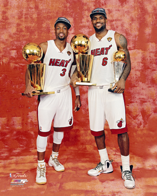 LeBron James and Dwyane Wade 2012 Miami Heat NBA 8x10 Photograph NBA Champions Trophies