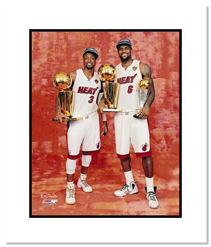LeBron James and Dwyane Wade 2012 Miami Heat NBA Double Matted 8x10 Photograph NBA Champions Trophies