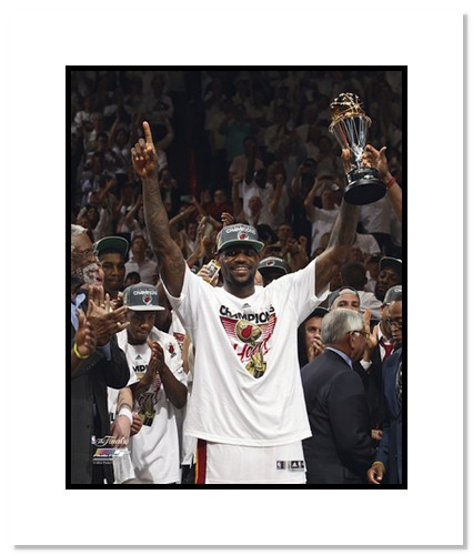 LeBron James 2012 Miami Heat NBA Double Matted 8x10 Photograph NBA Champions MVP Trophy