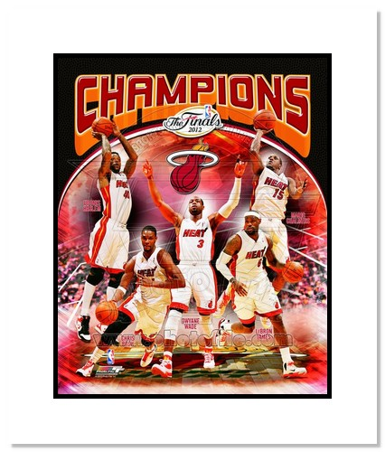 2012 Miami Heat NBA Double Matted 8x10 Photograph NBA Champions Team Composite