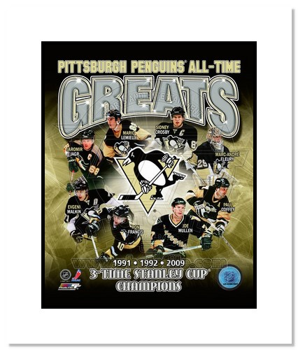 Pittsburgh Penguins All Time Greats NHL Double Matted 8x10 Photograph Champions Collage