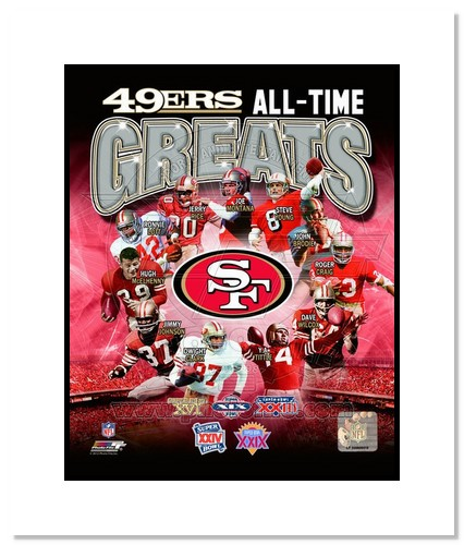 San Francisco 49ers All Time Greats NFL Double Matted 8x10 Photograph Champions Collage