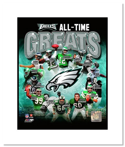 Philadelphia Eagles All Time Greats NFL Double Matted 8x10 Photograph Champions Collage