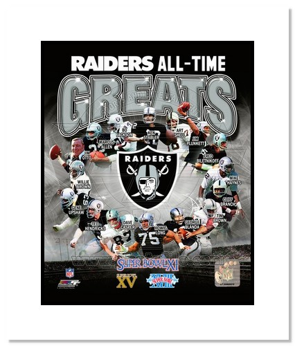 Oakland Raiders All Time Greats NFL Double Matted 8x10 Photograph Champions Collage
