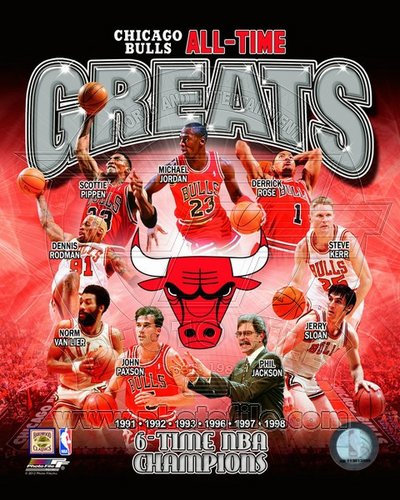 Chicago Bulls All Time Greats NBA 8x10 Photograph Champions Collage