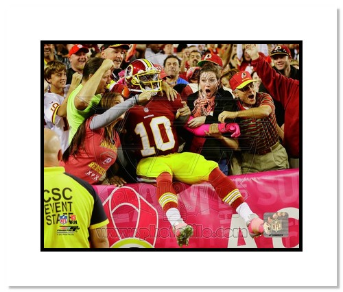 Robert Griffin III Washington Redskins NFL Double Matted 8x10 Photograph Crowd Leap RGIII