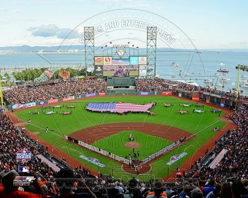 2012 San Francisco Giants MLB 8x10 Photograph World Series Game 1 USA Flag
