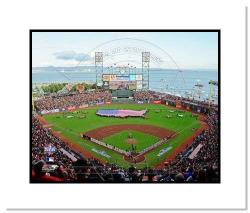 2012 San Francisco Giants MLB Double Matted 8x10 Photograph World Series Game 1 USA Flag