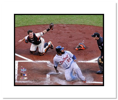 Buster Posey San Francisco Giants MLB Double Matted 8x10 Photograph 2012 World Series Tagging Prince Fielder Out