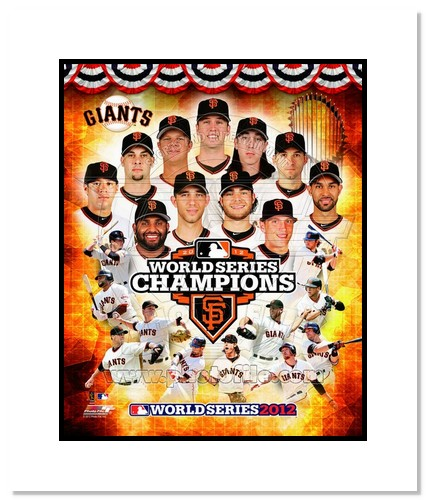 2012 San Francisco Giants MLB Double Matted 8x10 Photograph 2012 World Series Champions Collage