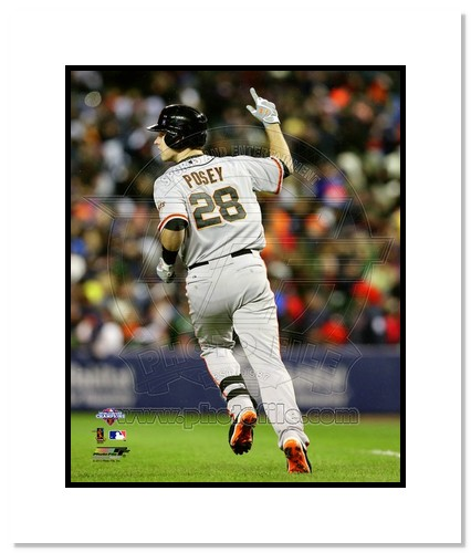 Buster Posey San Francisco Giants MLB Double Matted 8x10 Photograph 2012 World Series Home Run Arm Raised
