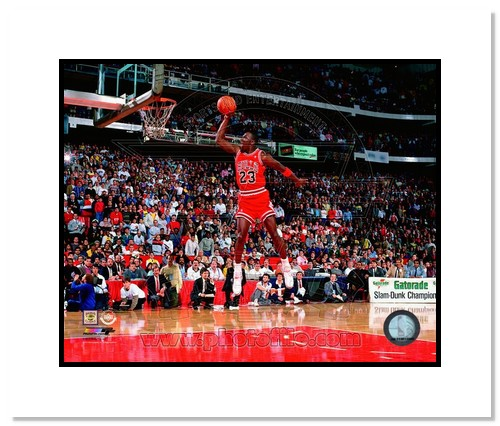Michael Jordan Chicago Bulls NBA Double Matted 8x10 Photograph Slam Dunk Champion